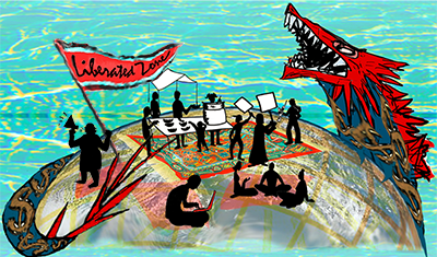 Graphic of activists doing their thing in the world in the belly of the beast and in liberated zones carved out in the midst of movements