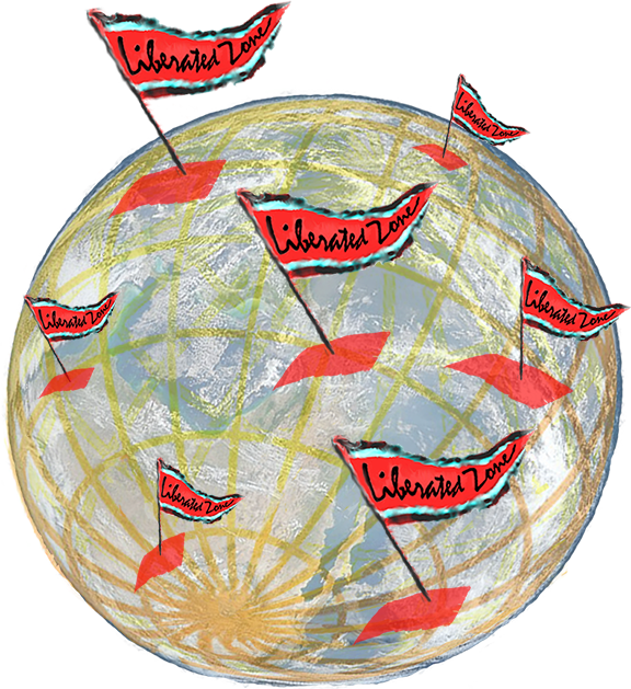 globe w flags marking liberated zones
